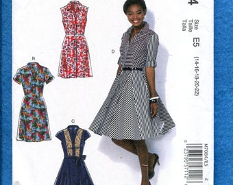 McCalls 7084 Flared Shirt Dresses with Princess Seams Size 14 to 22 UNCUT