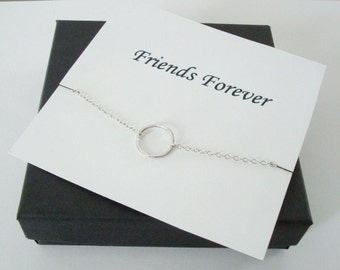 Infinity Twiggy Circle Charm Silver Infinity Necklace ~~Personalized Jewelry Gift Card for Sister, Friend, Best Friend, Sister in Law