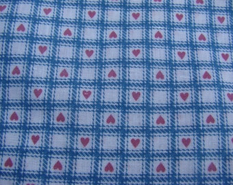 Over 2 Yards of Vintage Blue Lattice Work Cotton Blend Fabric with Pink Hearts