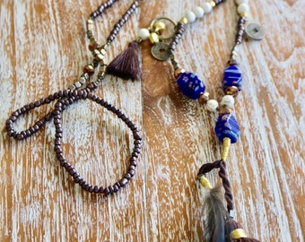 Feather Tassel necklace - Boho Necklace - Bohemian Jewelry - Free Spirit - Gypsy Soul Necklace - Gift for her - Eclectic Jewelry