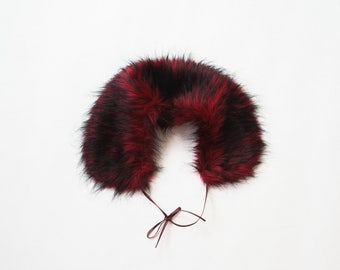 90s Faux Fur Collar Vegan Fur Furry Bib Stole Boho Glam Glitter Goth Soft Grunge CyberPunk Goth Vamp Red Black 1990s Club Kid Cocktail Party