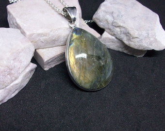 Large Labradorite Pendant on Open Link Silver Chain with Lobster Claw Clasp Iridescent Labradorite Genuine Flash Labradorite Necklace LB087
