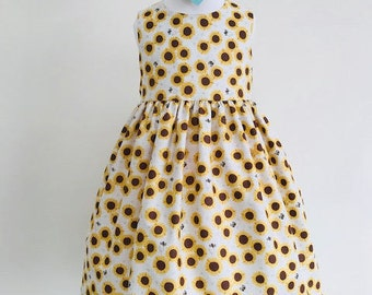 Eve,dresses, girls dresses, party dresses, girls clothing, baby girls clothing, girls fashion, sunflower fabric, handmade children's dress