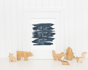 Navy Nursery Decor, I'll Eat You Up I Love You So Art Print - Baby Boy Nursery Art, Boys Bedroom Decor - Printable Art Quote