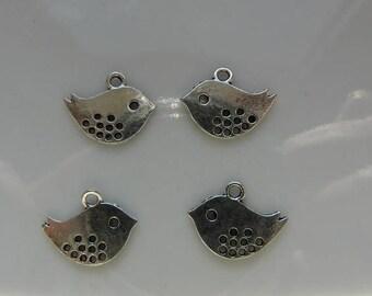 Silver bird pendant charms