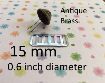 15mm / 0.6 inch Diameter Rust Proof Bucket Shaped Purse Feet with Washers (Nickel, Antique Brass) - 4, 16, 40 sets