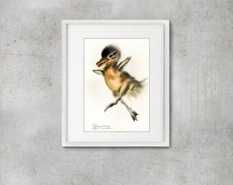 Baby duckling Original Watercolor Painting Duck bird artwork gift Nursery wall decor Watercolour art Cute duckling