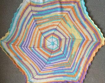 Crochet ruffle edge hexagon baby blanket