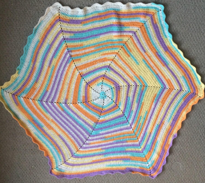Colmena de borde manta hexagonal de ganchillo