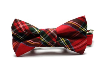 Red and Green Plaid Dog Collar and Removable Bow Tie Set | Red and Green Plaid | Plaid Dog Collar | Holiday Dog Collar | Tartan Plaid Collar