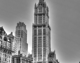 Woolworth building print, black and white, Manhattan photos, NYC photography, NYC photos, NYC wall art, fine art print, nyc skyscraper print