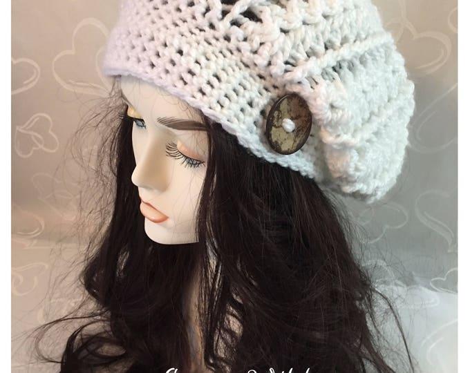 White Crocheted Slouchy Hat-Newsboy Cap-Women's accessories -