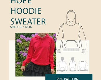 Hoodie sewing pattern for women Hoodie pattern pdf, Women's sewing pattern  womens hoodie pattern hoodie sweater sewing pattern tutorial