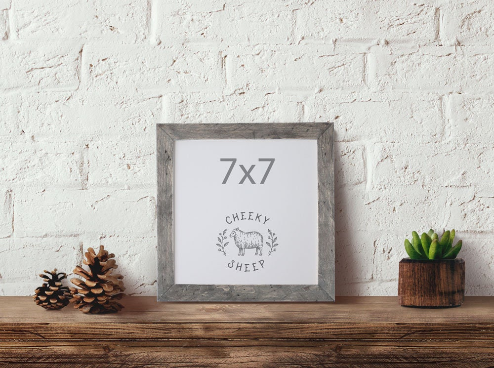Barn Wood Style Frame 7x7 Picture frame Solid Wood frame Needlework ...