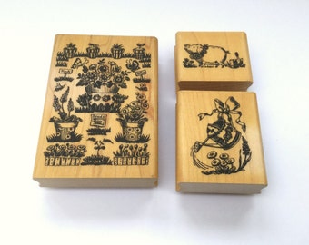 Set of 3 Gardening Themed Wooden Mounted Rubber Stamps, Rubber Stamps, Wooden Stamps, Embossing Stamps, Wooden Stamp Sets,  Rubber Stamping