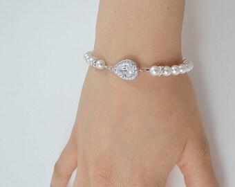 Braut Zirkonia Kristall Armband, Swarovskiperlen, Sterling Silber Kette und Verschluss, Rose Gold gefüllt - versandfertig in 1-3 Werktagen