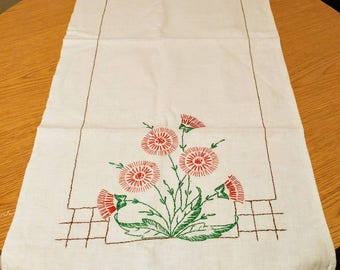 Vintage White Linen Table Runner with Red Green Floral Embroidery