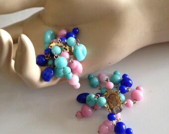 One Pair 1950s, 1960s Clip Earrings, Deadstock - Multi Pastels, Fruit Salad Glass Beads