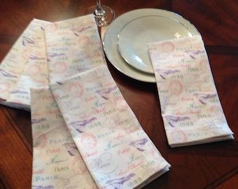 Handmade Cloth Dinner Napkins- Set of 6 Napkins, Cotton Dinner Napkins, Paris Dinner Napkins