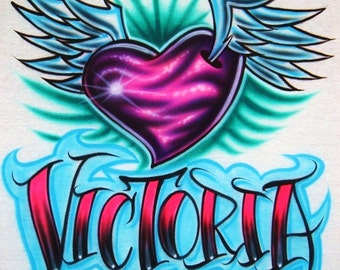 Airbrush T Shirt With Heart And Wings Tattoo Name, Airbrush Heart Shirt, Airbrush Tattoo Style Shirt, Tattoo Shirt, Airbrush Shirt, Airbrush