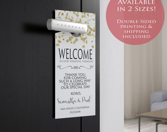 50 Double-Sided Printed Wedding Door Hanger -  Welcome to Our Wedding and Do Not Disturb Combo Gold Confetti - Free Domestic Shipping!