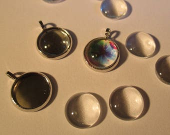 2 cabochon metal charms silver 15 x 12 mm
