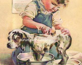 "Boy's Room Art, Bath Art, Dog Gets Bath From Little Boy Owner, ""It's SHOWTIME"" At the Kennel Club RESTORED Vintage Art #328"