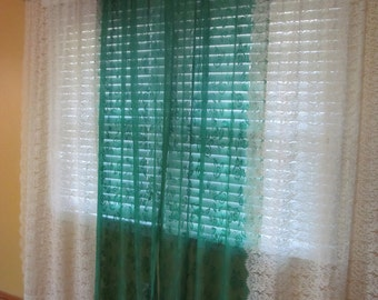 Green & Cream Mix lace curtain panels. SALE