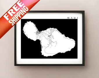 Maui Map Print - Black and White - Hawaii Art Poster