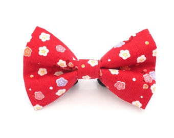 Japanese Red Cherry Blossoms Bow Tie - Attachable Bow Tie for Dogs & Cats