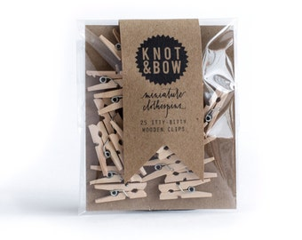 25 Miniature Wooden Clothespins