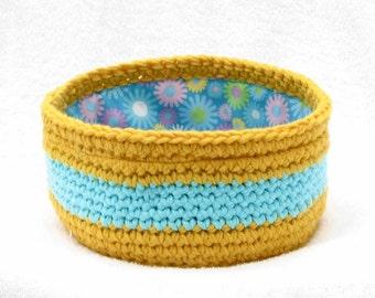 Yellow Ochre and Bright Light Blue Flower Fabric Lined Crochet Bowl Basket