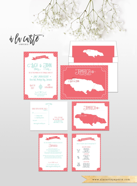 Coral Reef Beach Destination Wedding Invitation RSVP Cards