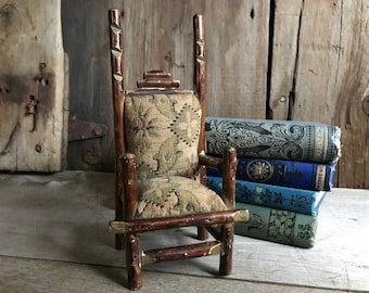 Wooden Tapestry Chair, Doll House Furniture, Pin Cushion, Whimsical Folk Art Twig Chair