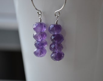 Stacked Amethyst and Sterling Silver Earrings Handmade