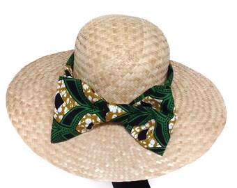 Woman straw hat summer wedding. Gardening hat wide brim. Church hat. Garden party. Gift for girl. Bow headress. Boho chic sun hat