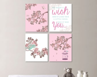 Baby Girl Nursery Print Art - Cherry Blossom Nursery - Cherry Blossom Art - Bird Nursery - Bird Art - Bird Print - You Pick the Size -NS-519
