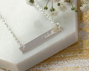 Engraved Bar Necklace, Customisable Bar Necklace, Silver Horizontal Bar Necklace, Sterling Silver Bar Necklace, My Name Necklace, Words