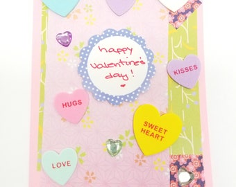 Happy Valentine's Day! Handmade Greeting Card * Conversation Hearts * Foodie Love * Valentines Day