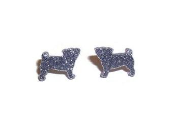 Glitter Pug Earrings, Glitter Purple Lilac Small Dainty Cute Kawaii Dog Stud Earrings, Animal Jewelry
