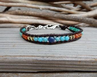 Beach Anklet Jewelry. Summer Jewelry. Foot Jewelry. Ankle Bracelet. Stone Anklet. Leather Wrap. Blue Anklet. Boho Gypsy Anklet. Jasper