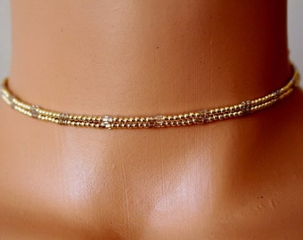 Gold beaded choker necklace, gold filled choker, simple choker necklace, beaded layering choker, womens choker necklace, gift for her