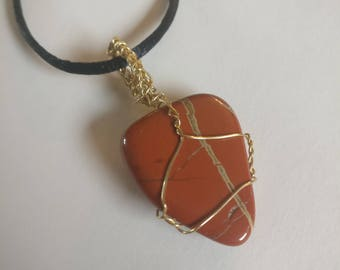 Wire-Wrapped Red Jasper Necklace
