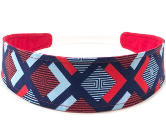 Ready To Ship - Patriotic Womans Headband, Reversible Fabric Headband - Red, White, Blue - Geometric Headband -  PATRIOTIC GEOMETRIC