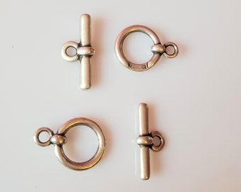 set of 2 (4) silver plated toggle clasps