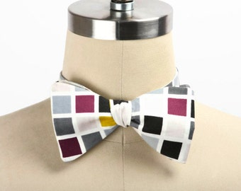 Free Style Bow Tie, Men's Accessories, Self Tie Bow Tie, Men's Bow Tie, Formal, Adjustable Bow Tie, Hipster, Multi-Colored Squares, Bow Tie