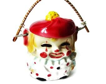 Rare 1950s Clown Cookie Jar/ Vintage ESD Japan / Collectible/ HO3576