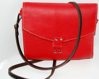 Red Leather Cross Body Bag, Red Leather Clutch, Crossbody Bag, Red Leather Shoulder Bag, Small Leather Bag, Red Leather Bag, Red Bag