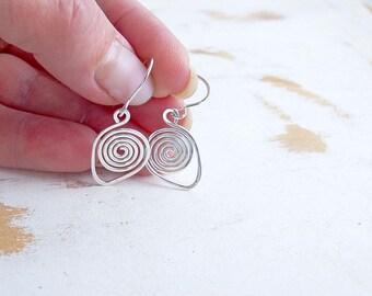 Sterling Silver Spiral Earrings, Artisan Jewellery, Metalwork Earrings, Simple Everyday Jewellery, Small Drop Earrings, Geometric Jewellery