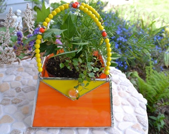 Purse Flower Pot. Stained Glass. Flower Vase, Dish Garden, Orange and Yellow, Mother's Day Gift, Gardeners Gift, Housewarming Gift